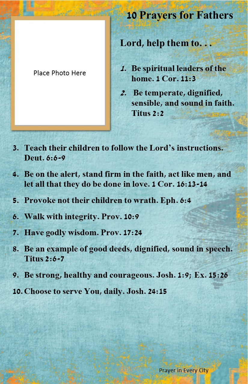 10 Prayers for Fathers | Prayer In Every City