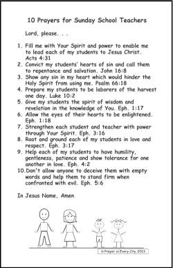 Prayer in Every City 10 Prayers for Sunday School Teachers