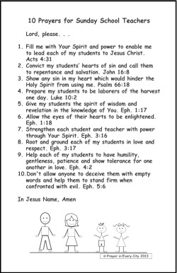 Prayer in Every City 10 Prayers for Sunday School Teachers