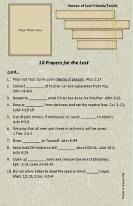 10 Prayers for the Lost words