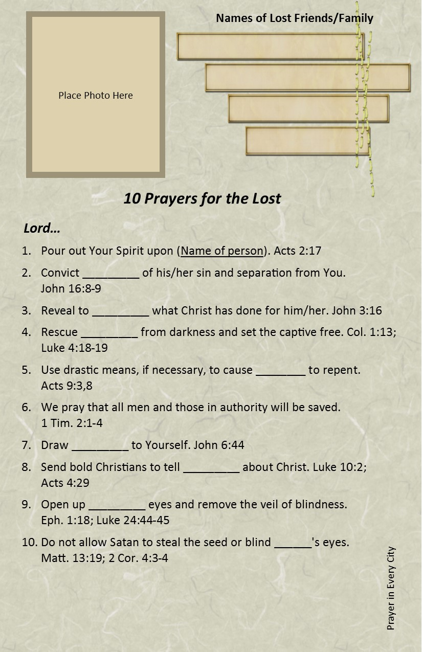 10 Prayers for the Lost Prayer in Every City Journal