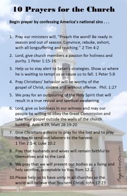 10 Prayers for America's Church