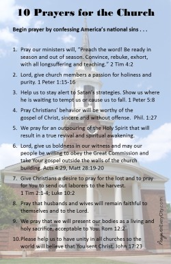 10 Prayers for America's Church