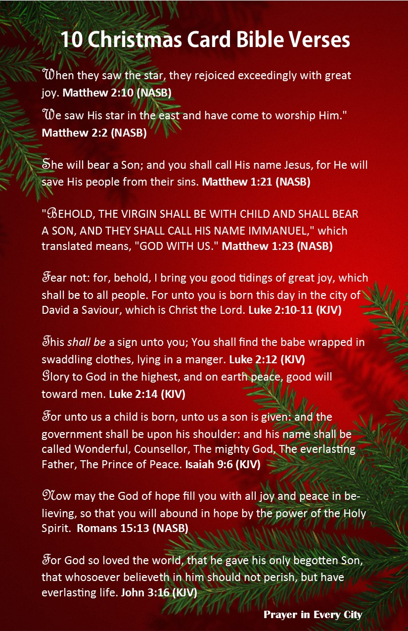 10 Christmas Card Bible Verses