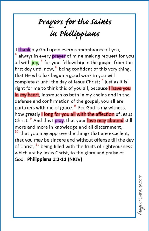 Prayers for the Saints in Philippians