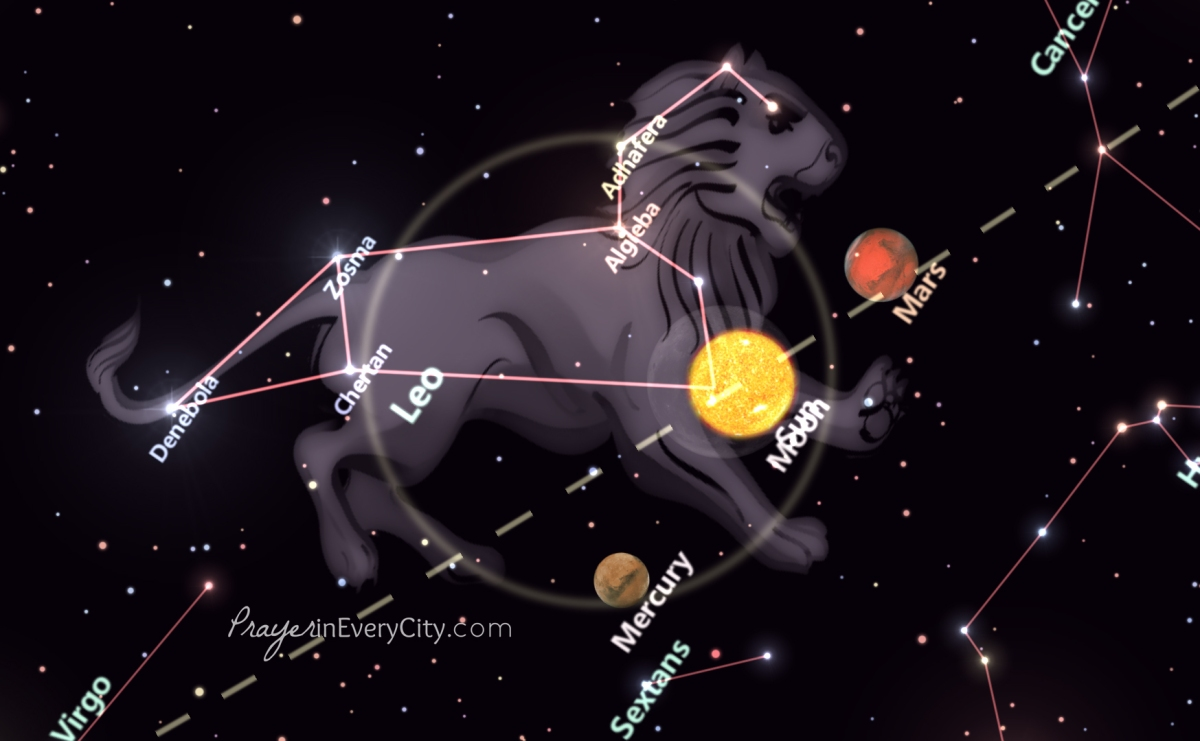 Solar Eclipse Prelude to September 23rd Constellation Line Up from Revelation 12